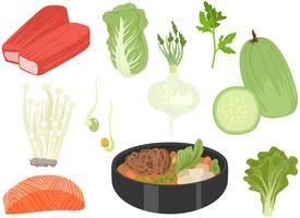 Vecteurs d'ingrédients de pot chaud vecteur