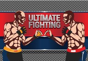 Bataille de deux boxeurs sur le combat ultime vecteur
