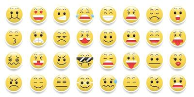 icône d'émoticônes sertie d'émotions de dessin animé drôle