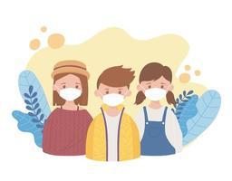 filles et garçon avec masque médical, recommandation de prévention, coronavirus covid 19