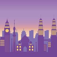monuments célèbres paysage urbain skyline architecture scène urbaine vecteur
