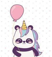 panda avec licorne et ballon fantaisie magique de dessin animé