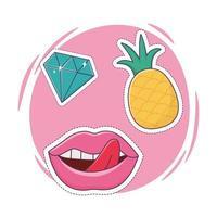 Lèvres ananas et icône de décoration patch diamant vecteur