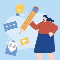 avatar de femme avec conception de vecteur d'icônes numériques