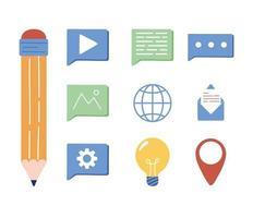 crayon et icône de marketing numérique définie la conception de vecteur