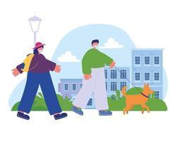 garçon avec chien et fille avec sac à dos marchant dans la rue vecteur