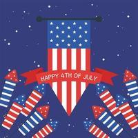 feux d'artifice de la fête de l'indépendance avec bannière drapeau et conception de vecteur de ruban