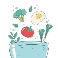 Bol de nourriture saine avec oeuf de tomate et brocoli régime nutritionnel bio