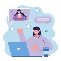 jeune femme, à, ordinateur portable, et, girl, à, smartphone, conversation, connexe