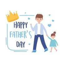 père avec fille sur la conception de vecteur de fête des pères