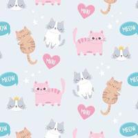 chats mignons miaou aiment les animaux de compagnie dessin animé fond de personnage drôle vecteur