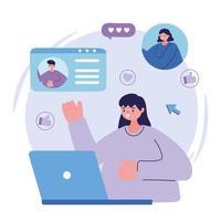 jeune femme, à, ordinateur portable, gens, conversation, conception