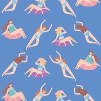 personnes habillées en maillot de bain dans la piscine, se détendre et flottant sur gonflable vecteur