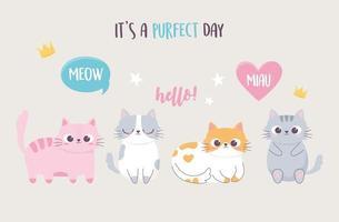 chatons mignons avec lettrage personnage drôle de dessin animé vecteur
