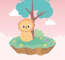 mignon petit lion animal dessin animé assis prairie arbre et fleurs nature