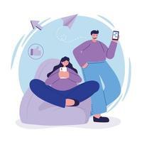 femme et homme sur puf avec conception de vecteur de chat smartphone