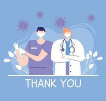 Merci médecins et infirmières, femme médecin et infirmière avec masque médical et stéthoscope