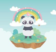 panda mignon avec des oiseaux et des abeilles adorables avec des fleurs et un dessin animé arc-en-ciel vecteur