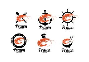Logos de fruits de mer crevettes vecteur libre