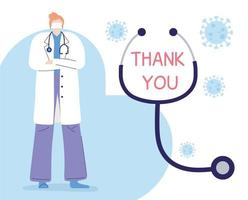 Merci médecins et infirmières, femme médecin professionnelle avec stéthoscope, motivation de lettrage vecteur