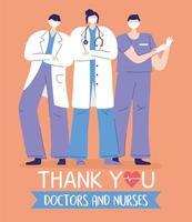 merci médecins et infirmières, médecins et infirmières vecteur