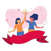 femmes avatars amis avec conception de vecteur de ruban