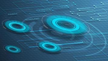 fond numérique bleu pour votre créativité avec des graphiques ronds vecteur