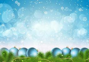 fond de flocons de neige et de boules de Noël