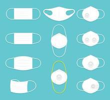 collection de masques blancs vecteur