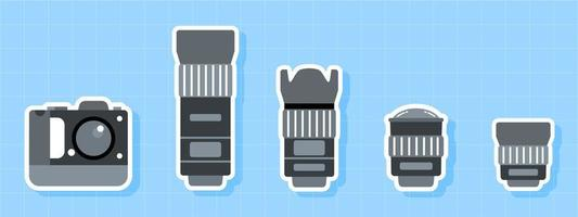 jeu d'icônes de caméra et objectif vecteur