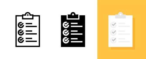 jeu d'icônes de liste de contrôle de document simple vecteur