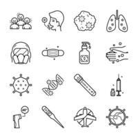 jeu d'icônes de ligne d'épidémie de coronavirus