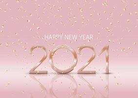 joyeux nouvel an avec des confettis d'or