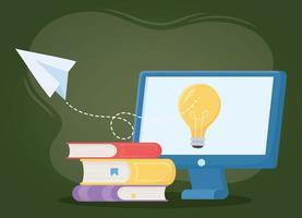 éducation en ligne, livres d'idées informatiques et avion en papier vecteur
