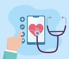 santé en ligne, analyse diagnostique de stéthoscope de smartphone coronavirus covid 19 vecteur