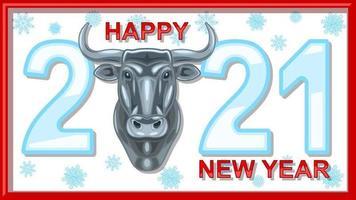 Bannière du nouvel an chinois 2021 avec tête de taureau en métal vecteur