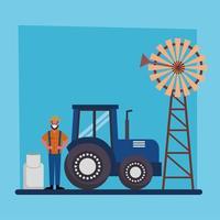 jardinier homme tracteur moulin à vent et lait peut vector design