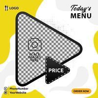 conception de publication de médias sociaux bannière de menu alimentaire