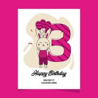 3ème carte d'invitation de fête d'anniversaire avec la conception de personnage de dessin animé bébé animal lapin