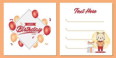 conception de modèle de carte d'invitation de fête d'anniversaire carré avec la conception de personnage de chat