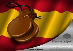 Castagnettes de vecteur et modèle de drapeau de l'Espagne