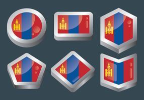 Icônes vectorielles drapeau mongol vecteur
