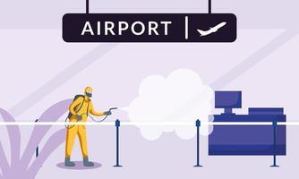 homme avec combinaison de protection pulvérisant la conception de vecteur de réception aéroport