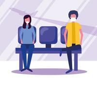 homme et femme avec masque médical sur la conception de vecteur de chaise aéroport