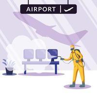 homme avec combinaison de protection pulvérisant des chaises d & # 39; aéroport vector