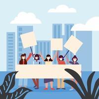 femmes avec des masques médicaux et des bannières à la conception de vecteur de ville