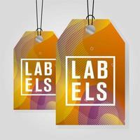 étiquettes commerciales suspendues avec des couleurs vives