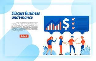 Discutez des graphiques financiers et commerciaux de l'entreprise en réfléchissant aux idées et en les comparant pour obtenir une analyse et une stratégie. concept d'illustration vectorielle pour la page de destination, ui ux, web, application mobile, affiche, annonces