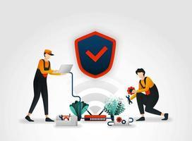 illustration vectorielle. les travailleurs des entreprises de sécurité vérifient ou maintiennent les systèmes de sécurité sur un routeur. le système de sécurité sans fil offre une protection et une surveillance VIP pour tous les produits de sécurité vecteur