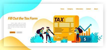 remplir le formulaire de paiement de la facture fiscale. déclarer le revenu annuel, l'activité, la propriété des actifs financiers. concept d'illustration vectorielle pour la page de destination, ui ux, web, application mobile, affiche, bannière, site Web, flyer, annonces